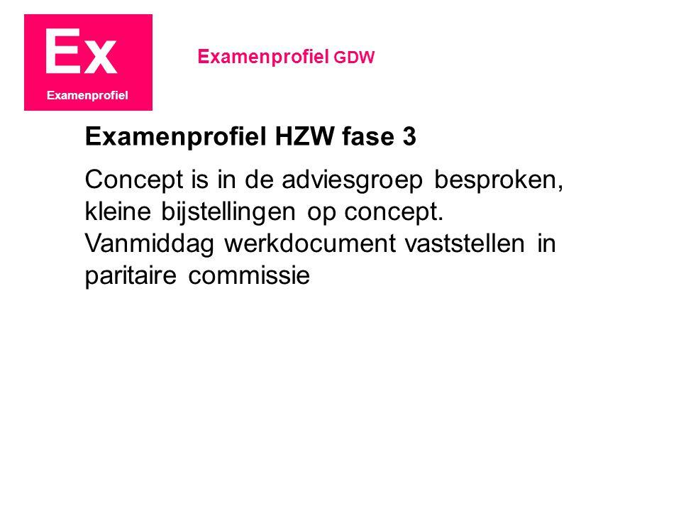 Ex Examenprofiel Concept is in de adviesgroep besproken, kleine bijstellingen op concept. Vanmiddag werkdocument vaststellen in paritaire commissie Ex