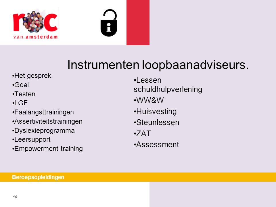 10 Beroepsopleidingen Instrumenten loopbaanadviseurs. Het gesprek Goal Testen LGF Faalangsttrainingen Assertiviteitstrainingen Dyslexieprogramma Leers