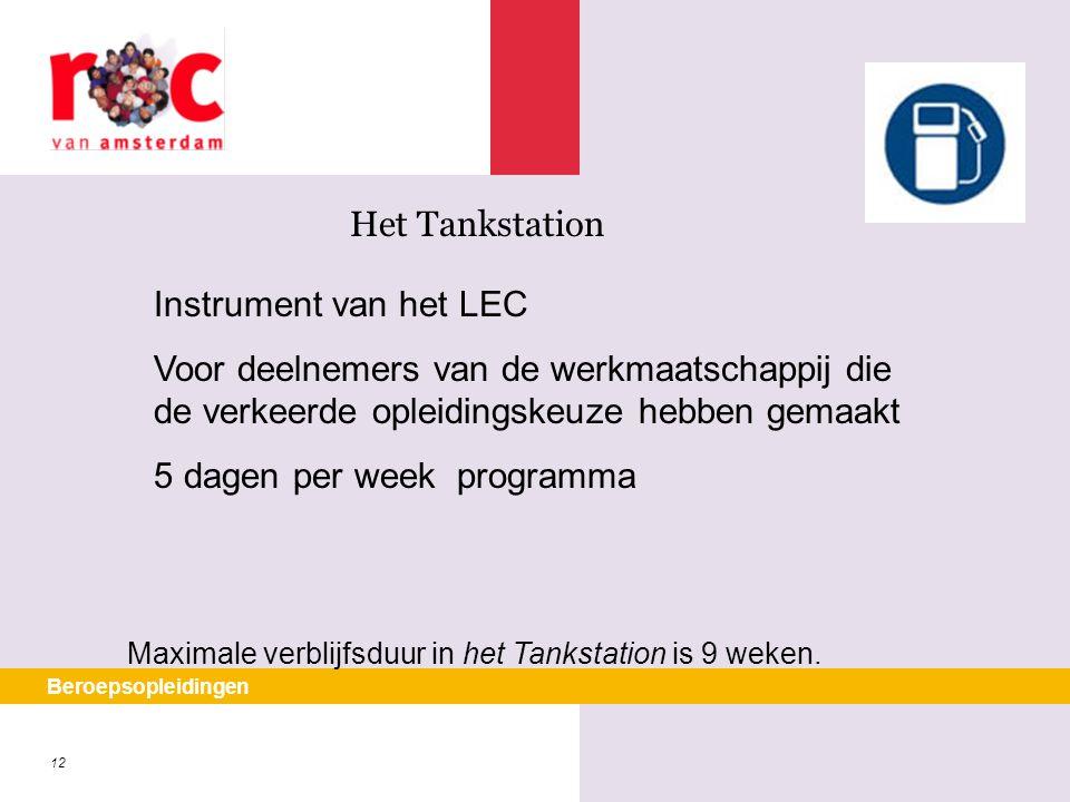 12 Beroepsopleidingen Het Tankstation Maximale verblijfsduur in het Tankstation is 9 weken. Instrument van het LEC Voor deelnemers van de werkmaatscha