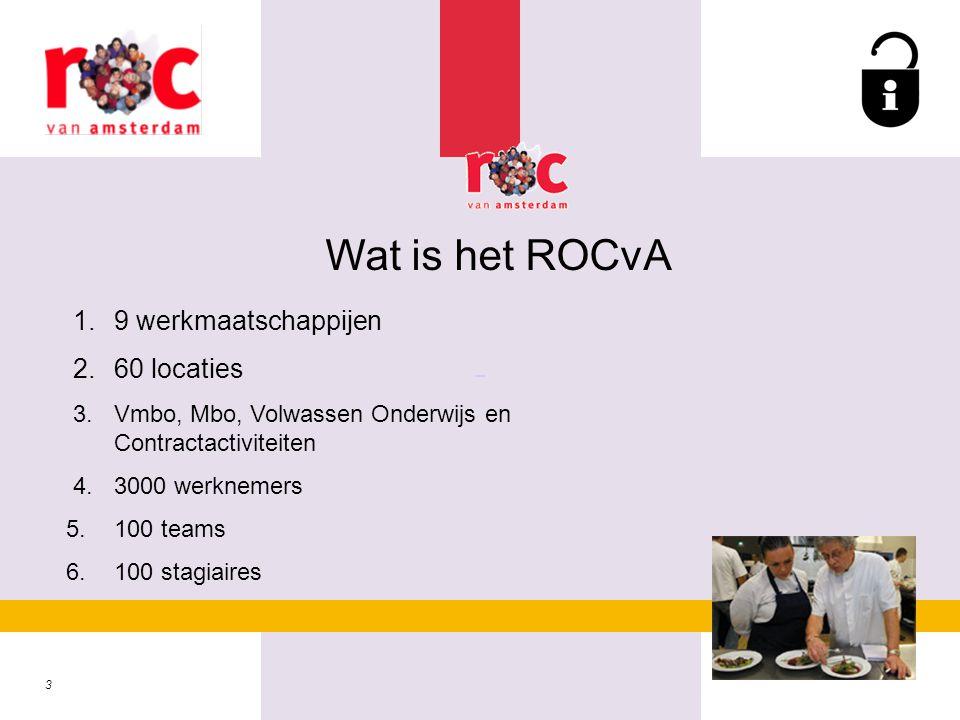3 Wat is het ROCvA 1.9 werkmaatschappijen 2.60 locaties 3.Vmbo, Mbo, Volwassen Onderwijs en Contractactiviteiten 4.3000 werknemers 5.100 teams 6.100 s
