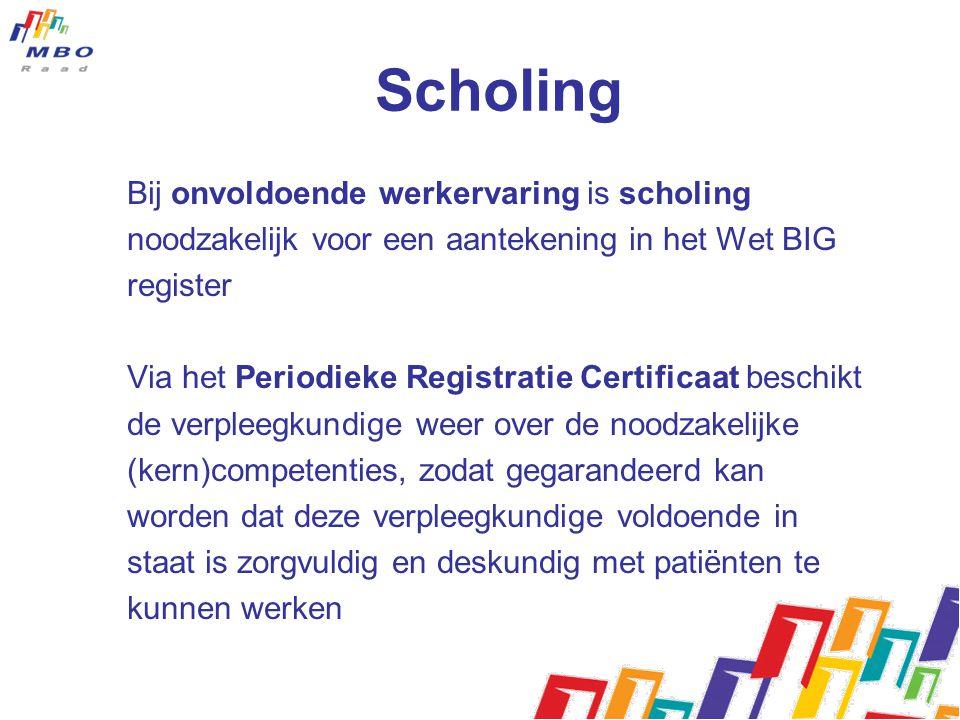 Scholing Bij onvoldoende werkervaring is scholing noodzakelijk voor een aantekening in het Wet BIG register Via het Periodieke Registratie Certificaat