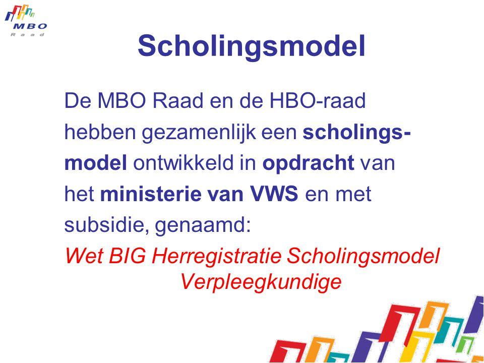 Scholingsmodel De MBO Raad en de HBO-raad hebben gezamenlijk een scholings- model ontwikkeld in opdracht van het ministerie van VWS en met subsidie, genaamd: Wet BIG Herregistratie Scholingsmodel Verpleegkundige