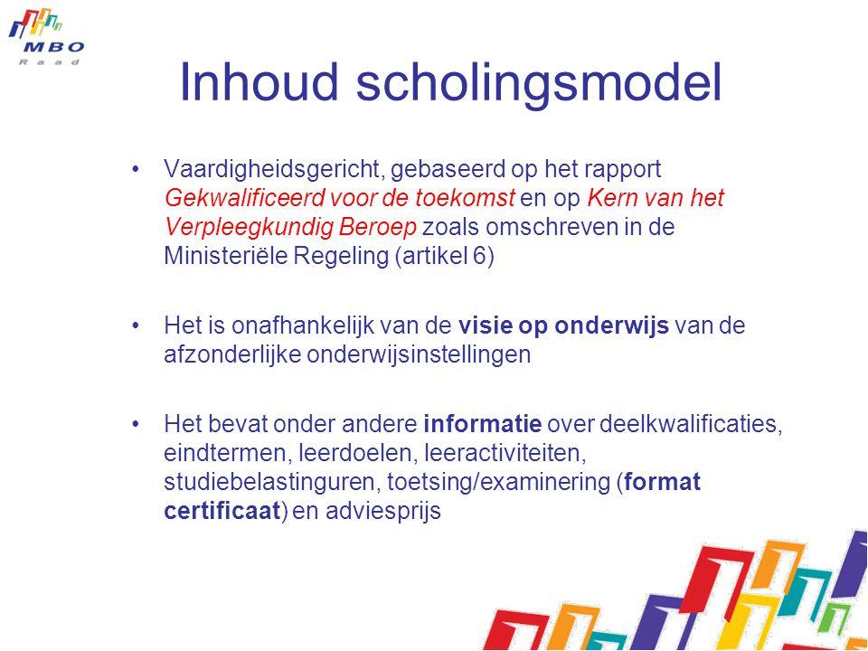 Inhoud scholingsmodel Vaardigheidsgericht, gebaseerd op het rapport Gekwalificeerd voor de toekomst en op Kern van het Verpleegkundig Beroep zoals oms