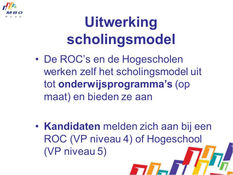 Uitwerking scholingsmodel De ROC's en de Hogescholen werken zelf het scholingsmodel uit tot onderwijsprogramma's (op maat) en bieden ze aan Kandidaten melden zich aan bij een ROC (VP niveau 4) of Hogeschool (VP niveau 5)