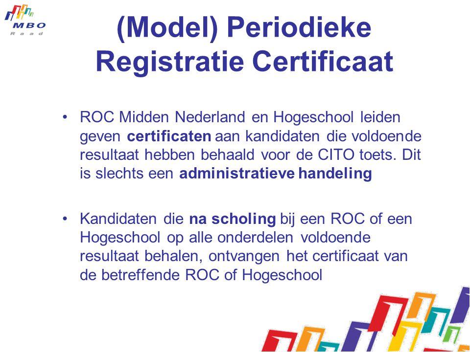 (Model) Periodieke Registratie Certificaat ROC Midden Nederland en Hogeschool leiden geven certificaten aan kandidaten die voldoende resultaat hebben behaald voor de CITO toets.