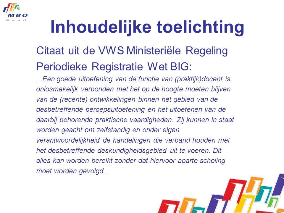 Inhoudelijke toelichting Citaat uit de VWS Ministeriële Regeling Periodieke Registratie Wet BIG:...Een goede uitoefening van de functie van (praktijk)