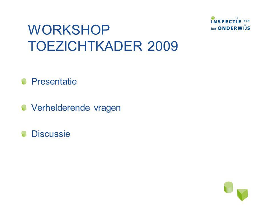 WORKSHOP TOEZICHTKADER 2009 Presentatie Verhelderende vragen Discussie