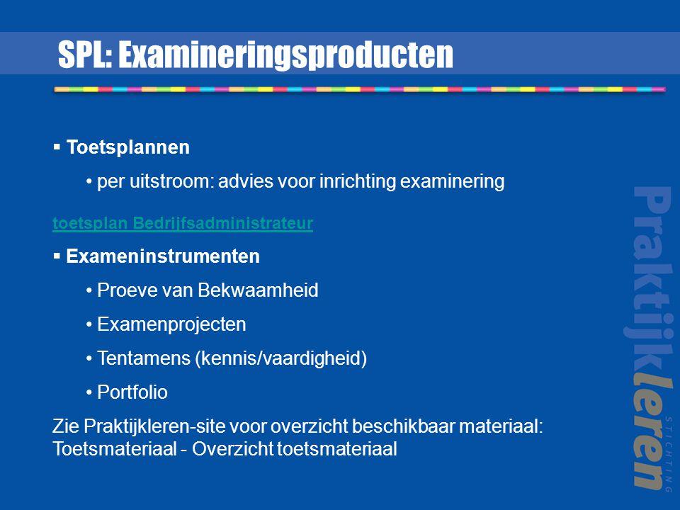  Toetsplannen per uitstroom: advies voor inrichting examinering toetsplan Bedrijfsadministrateur  Exameninstrumenten Proeve van Bekwaamheid Examenpr