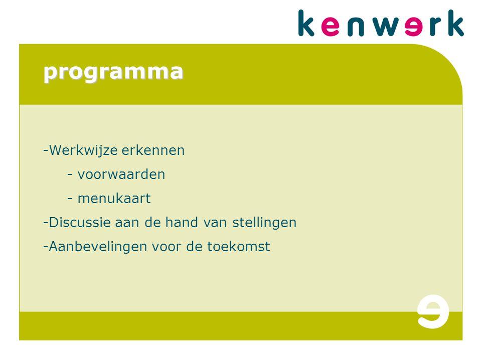 programma -Werkwijze erkennen - voorwaarden - menukaart -Discussie aan de hand van stellingen -Aanbevelingen voor de toekomst
