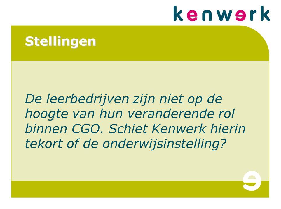 Stellingen De leerbedrijven zijn niet op de hoogte van hun veranderende rol binnen CGO.