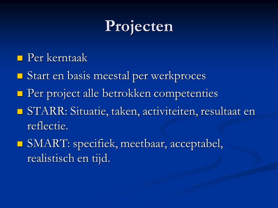 Projecten Per kerntaak Per kerntaak Start en basis meestal per werkproces Start en basis meestal per werkproces Per project alle betrokken competentie