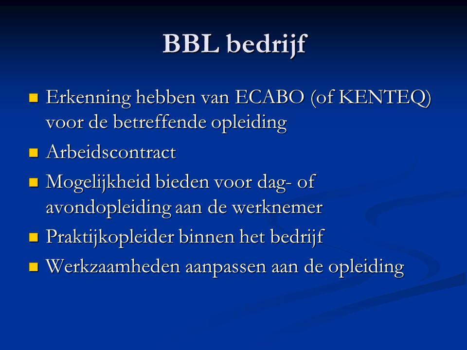BBL bedrijf Erkenning hebben van ECABO (of KENTEQ) voor de betreffende opleiding Erkenning hebben van ECABO (of KENTEQ) voor de betreffende opleiding