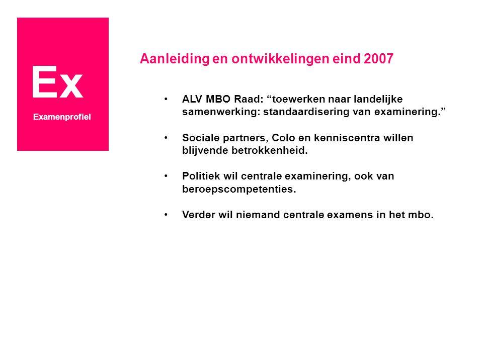 """Ex Examenprofiel Aanleiding en ontwikkelingen eind 2007 ALV MBO Raad: """"toewerken naar landelijke samenwerking: standaardisering van examinering."""" Soci"""