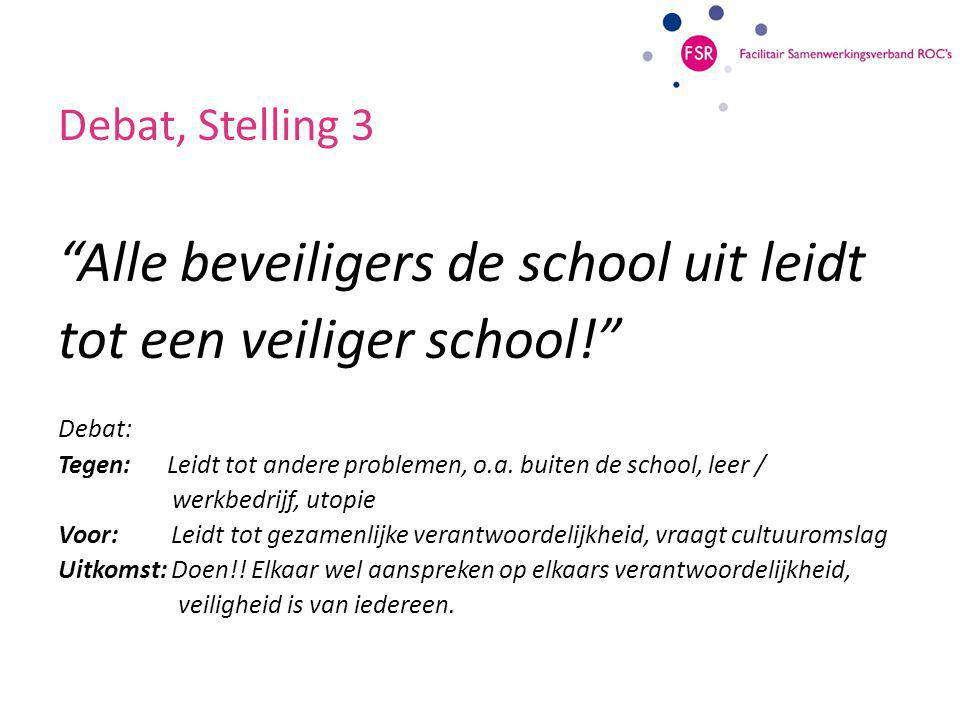 Debat, Stelling 3 Alle beveiligers de school uit leidt tot een veiliger school! Debat: Tegen: Leidt tot andere problemen, o.a.