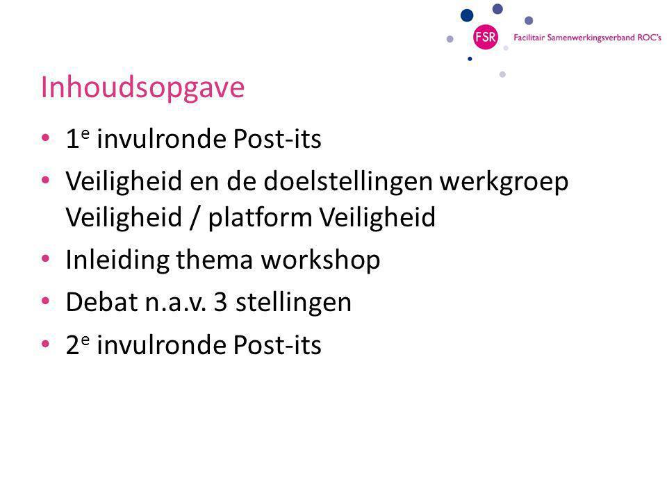 Inhoudsopgave 1 e invulronde Post-its Veiligheid en de doelstellingen werkgroep Veiligheid / platform Veiligheid Inleiding thema workshop Debat n.a.v.