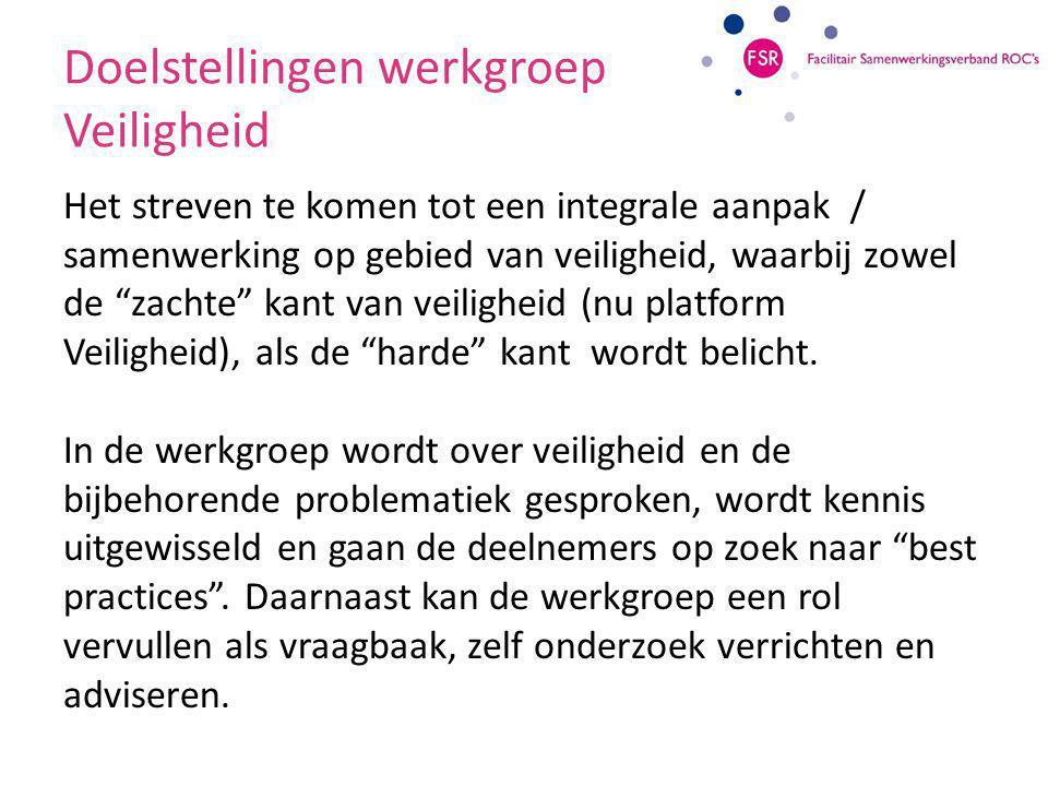 Onderwerpen werkgroep Veiligheid Organisatorische modellen m.b.t.