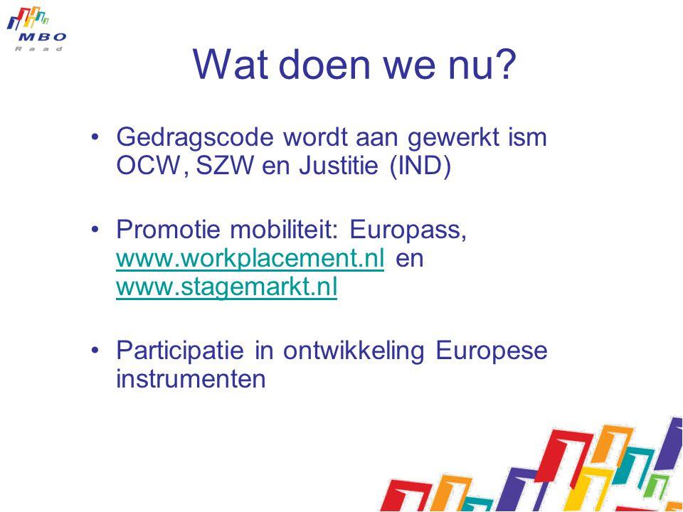 Wat doen we nu? Gedragscode wordt aan gewerkt ism OCW, SZW en Justitie (IND) Promotie mobiliteit: Europass, www.workplacement.nl en www.stagemarkt.nl