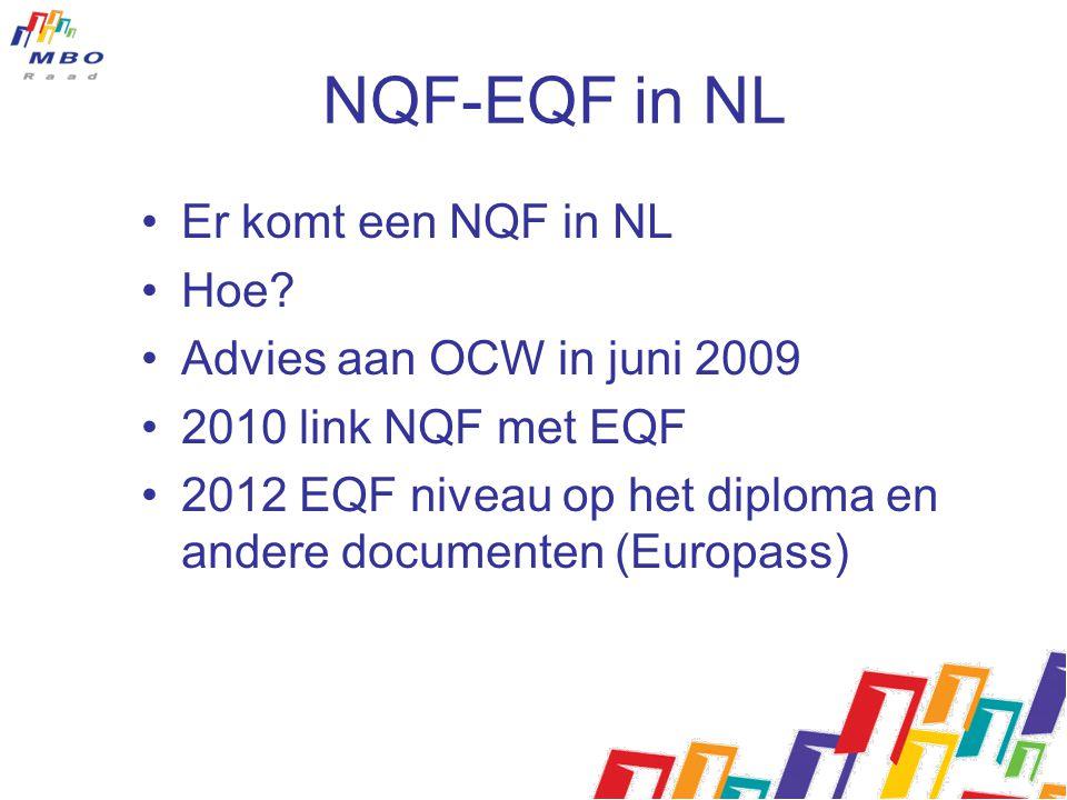 NQF-EQF in NL Er komt een NQF in NL Hoe? Advies aan OCW in juni 2009 2010 link NQF met EQF 2012 EQF niveau op het diploma en andere documenten (Europa