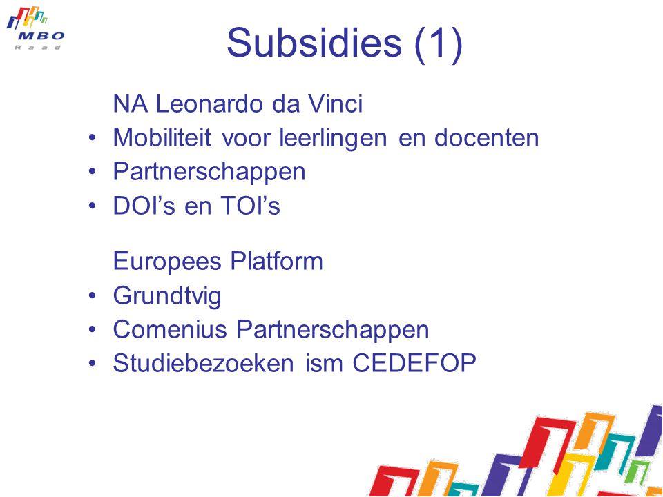 Subsidies (1) NA Leonardo da Vinci Mobiliteit voor leerlingen en docenten Partnerschappen DOI's en TOI's Europees Platform Grundtvig Comenius Partnerschappen Studiebezoeken ism CEDEFOP
