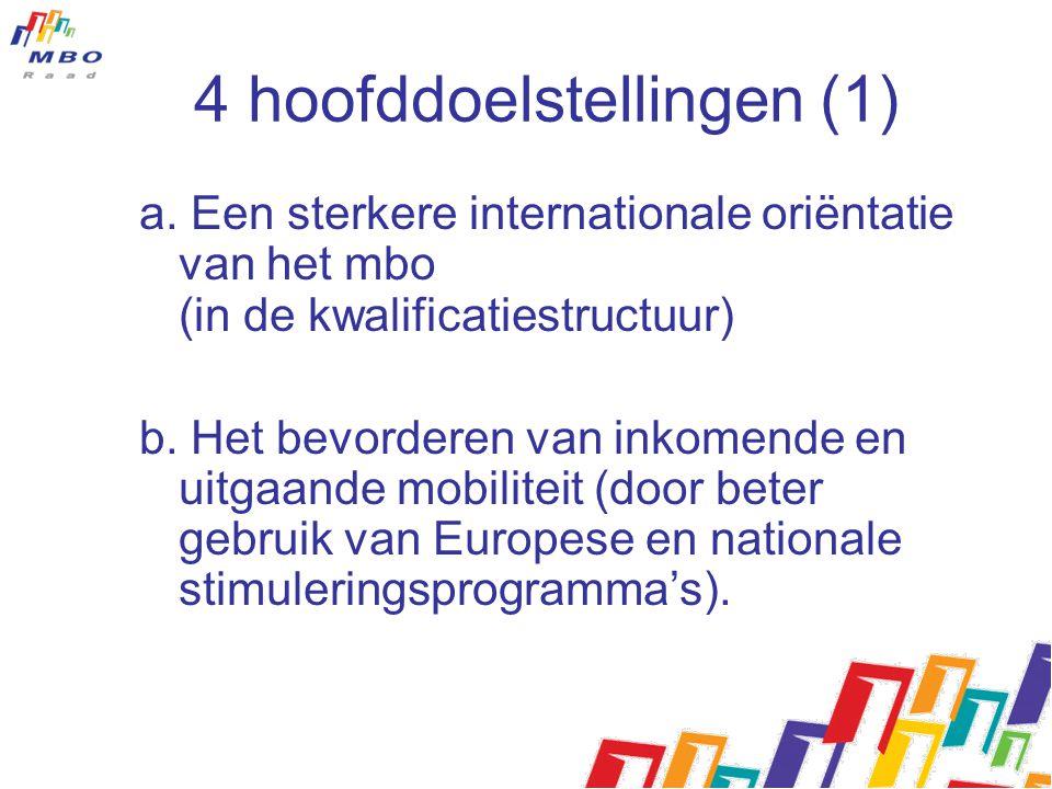 4 hoofddoelstellingen (1) a. Een sterkere internationale oriëntatie van het mbo (in de kwalificatiestructuur) b. Het bevorderen van inkomende en uitga