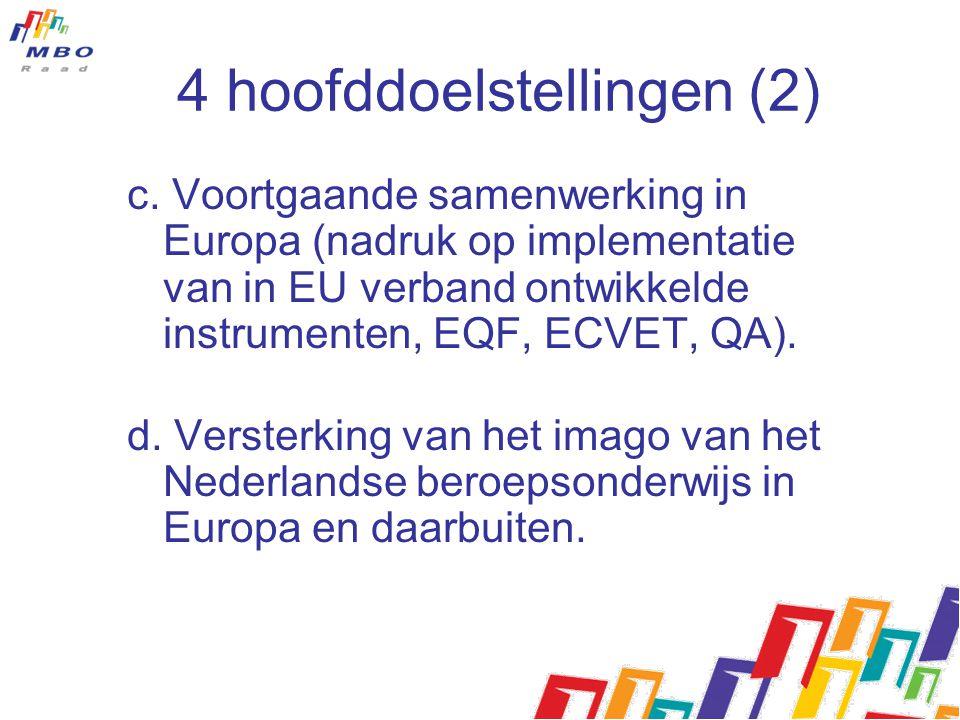 4 hoofddoelstellingen (2) c. Voortgaande samenwerking in Europa (nadruk op implementatie van in EU verband ontwikkelde instrumenten, EQF, ECVET, QA).