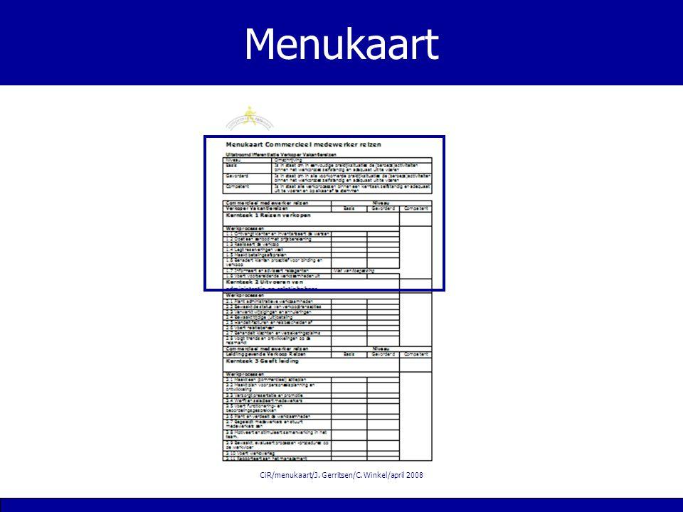 CiR/menukaart/J. Gerritsen/C. Winkel/april 2008 Menukaart