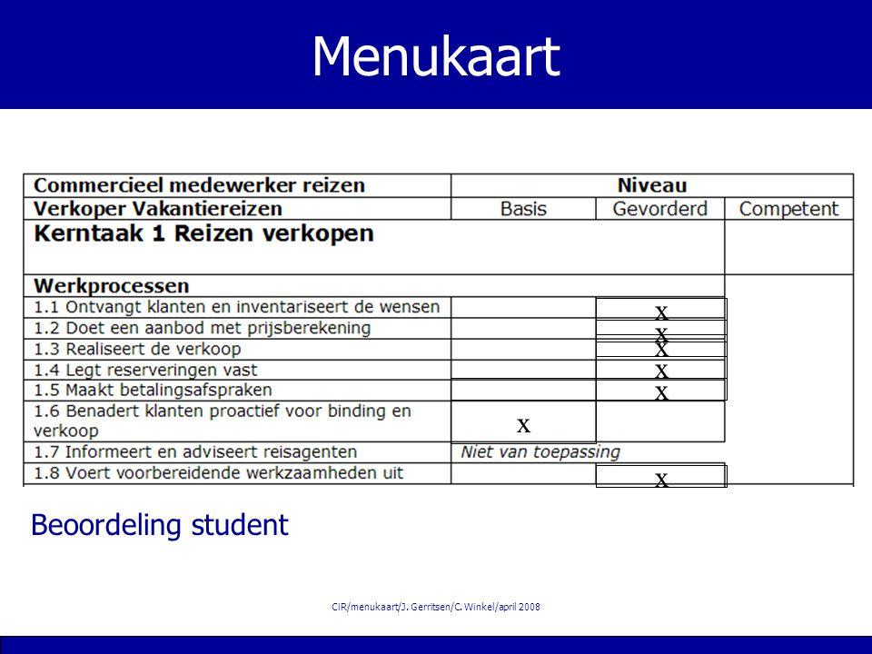 CiR/menukaart/J. Gerritsen/C. Winkel/april 2008 Menukaart x x x x x x Beoordeling student x
