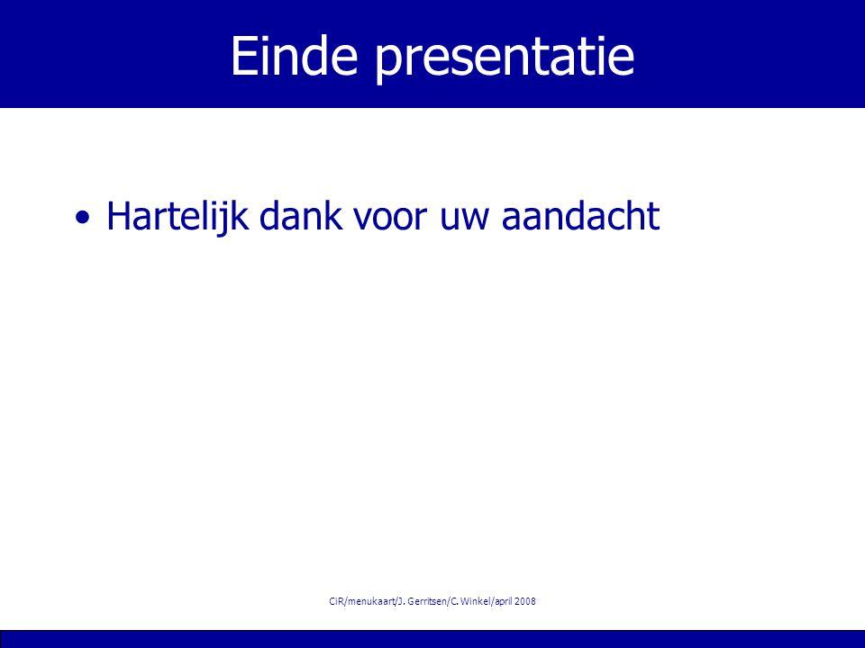CiR/menukaart/J. Gerritsen/C. Winkel/april 2008 Einde presentatie Hartelijk dank voor uw aandacht