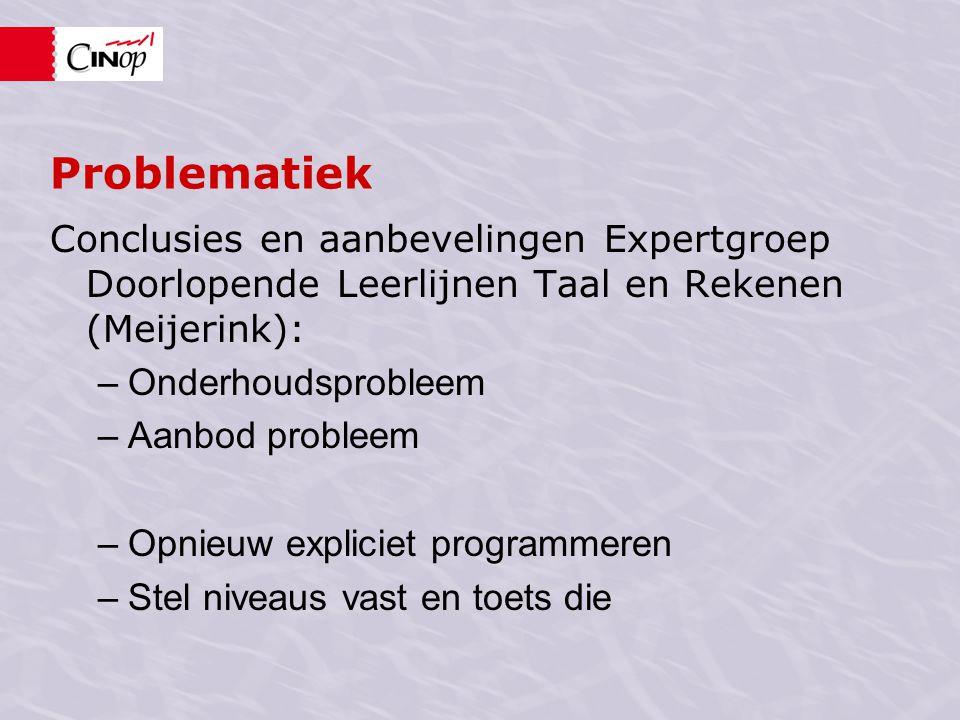 Problematiek Conclusies en aanbevelingen Expertgroep Doorlopende Leerlijnen Taal en Rekenen (Meijerink): –Onderhoudsprobleem –Aanbod probleem –Opnieuw expliciet programmeren –Stel niveaus vast en toets die