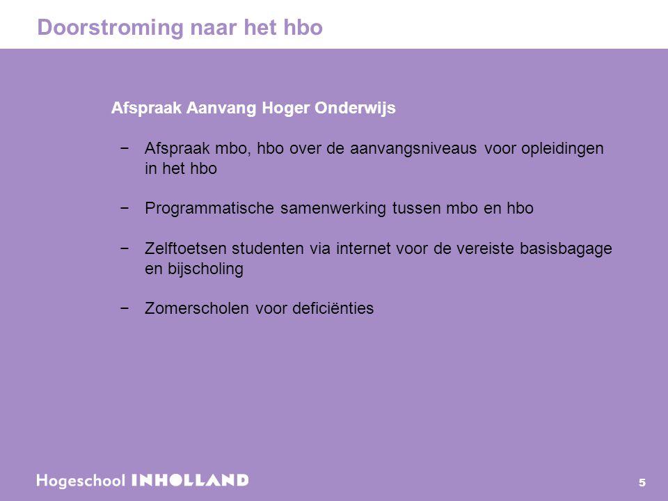 Doorstroming naar het hbo 5 Afspraak Aanvang Hoger Onderwijs −Afspraak mbo, hbo over de aanvangsniveaus voor opleidingen in het hbo −Programmatische s