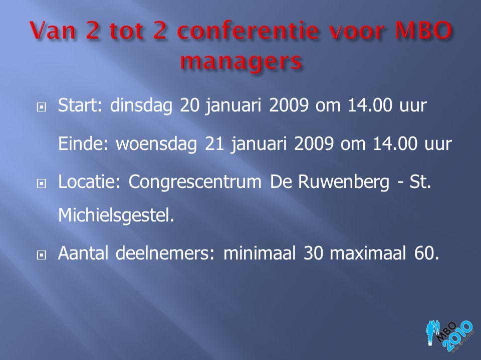  Start: dinsdag 20 januari 2009 om 14.00 uur Einde: woensdag 21 januari 2009 om 14.00 uur  Locatie: Congrescentrum De Ruwenberg - St. Michielsgestel