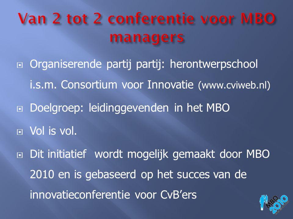  Organiserende partij partij: herontwerpschool i.s.m. Consortium voor Innovatie (www.cviweb.nl)  Doelgroep: leidinggevenden in het MBO  Vol is vol.