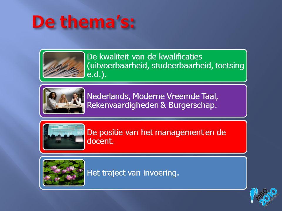 De kwaliteit van de kwalificaties (uitvoerbaarheid, studeerbaarheid, toetsing e.d.). Nederlands, Moderne Vreemde Taal, Rekenvaardigheden & Burgerschap