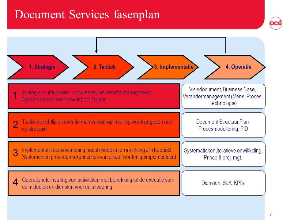 7 Document Services fasenplan Strategie op informatie-, documents- en records management. Bepalen van de positie over 5 tot 10 jaar Tactische richtlij