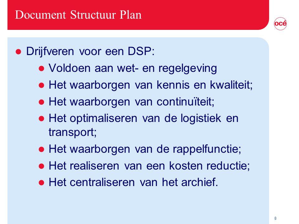8 Document Structuur Plan l Drijfveren voor een DSP: l Voldoen aan wet- en regelgeving l Het waarborgen van kennis en kwaliteit; l Het waarborgen van