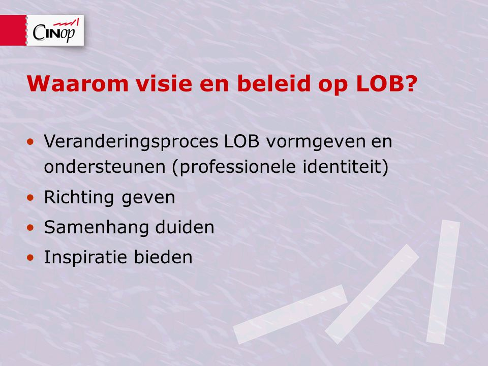 Waarom visie en beleid op LOB.
