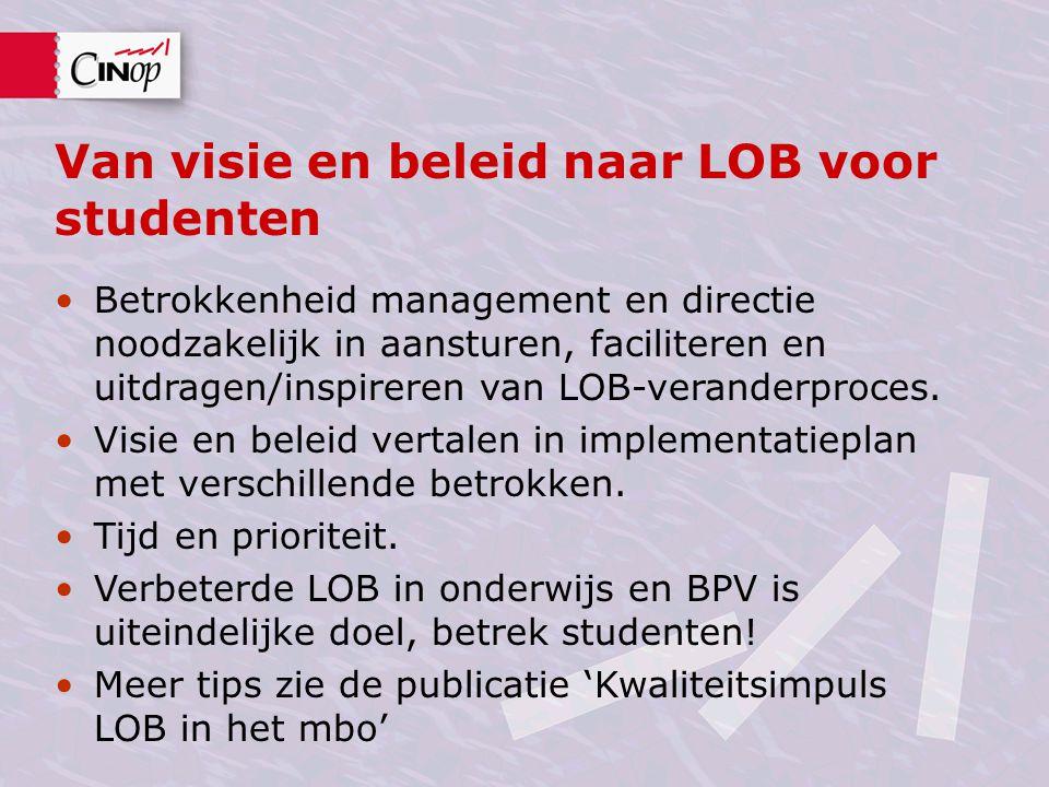Van visie en beleid naar LOB voor studenten Betrokkenheid management en directie noodzakelijk in aansturen, faciliteren en uitdragen/inspireren van LOB-veranderproces.