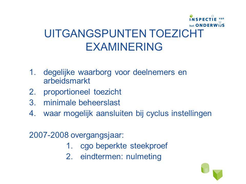 UITGANGSPUNTEN TOEZICHT EXAMINERING 1.degelijke waarborg voor deelnemers en arbeidsmarkt 2.proportioneel toezicht 3.minimale beheerslast 4.waar mogelijk aansluiten bij cyclus instellingen 2007-2008 overgangsjaar: 1.cgo beperkte steekproef 2.eindtermen: nulmeting