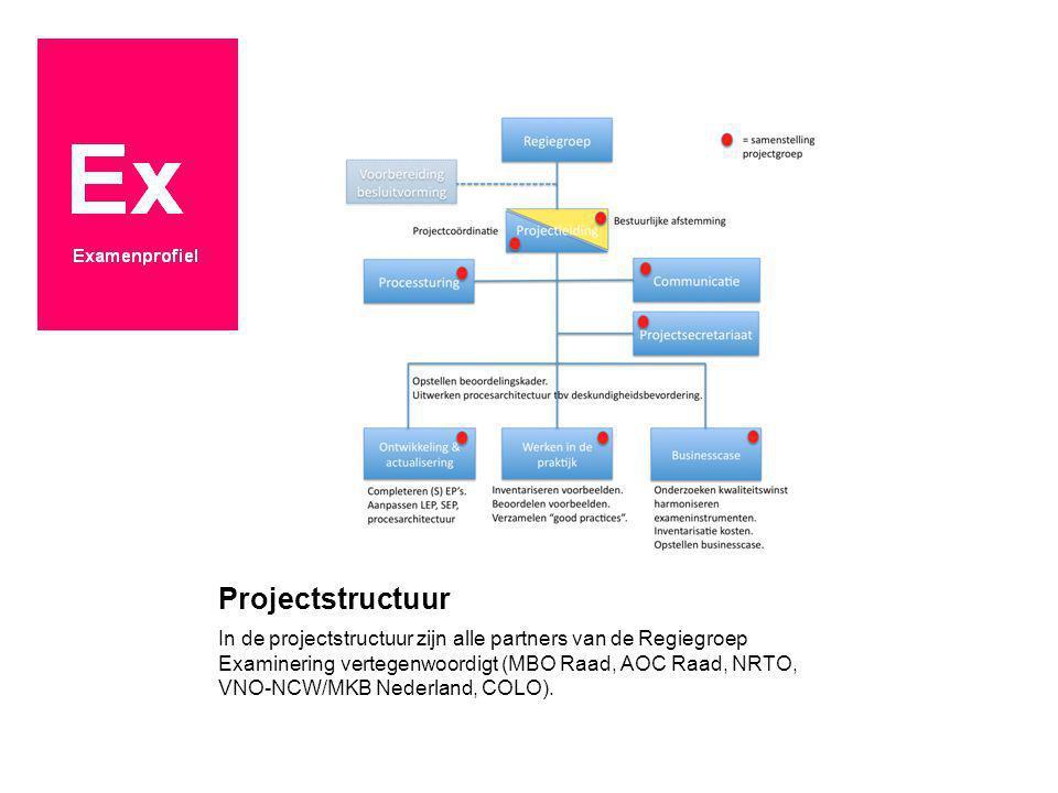 Projectstructuur In de projectstructuur zijn alle partners van de Regiegroep Examinering vertegenwoordigt (MBO Raad, AOC Raad, NRTO, VNO-NCW/MKB Neder