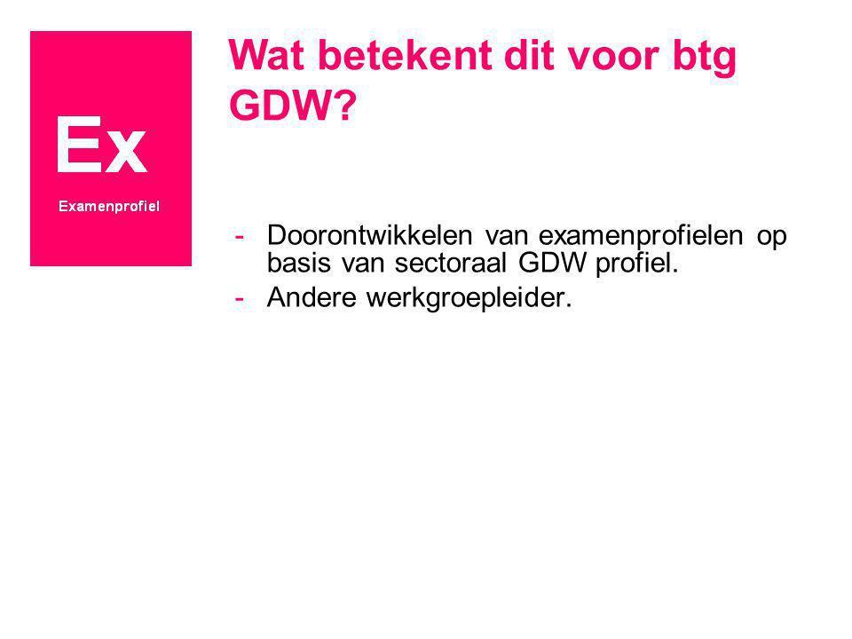 Wat betekent dit voor btg GDW? -Doorontwikkelen van examenprofielen op basis van sectoraal GDW profiel. -Andere werkgroepleider.