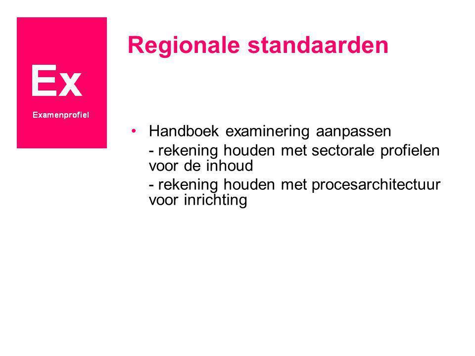Regionale standaarden Handboek examinering aanpassen - rekening houden met sectorale profielen voor de inhoud - rekening houden met procesarchitectuur