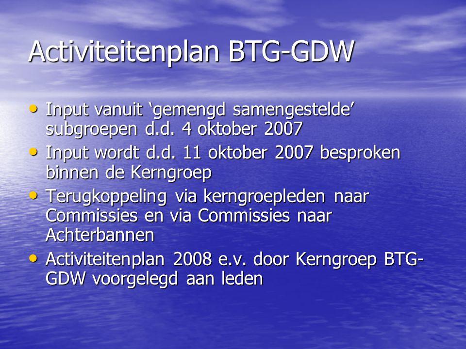 Activiteitenplan BTG-GDW Input vanuit 'gemengd samengestelde' subgroepen d.d. 4 oktober 2007 Input vanuit 'gemengd samengestelde' subgroepen d.d. 4 ok