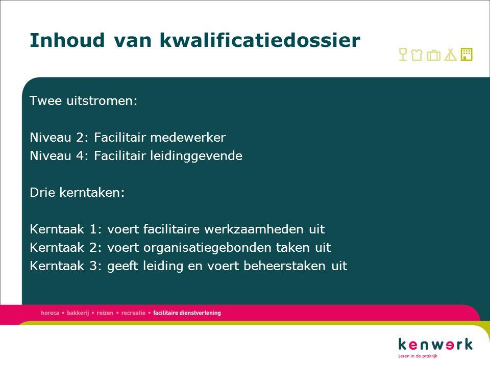 Inhoud van kwalificatiedossier Kerntaak 1 Voert facilitaire werkzaamheden uit N2N4 1.1Voert hospitality werkzaamheden uitXX 1.2Bereidt en distribueert eenvoudige gerechten en huish.