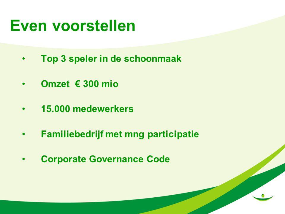 Even voorstellen Top 3 speler in de schoonmaak Omzet € 300 mio 15.000 medewerkers Familiebedrijf met mng participatie Corporate Governance Code
