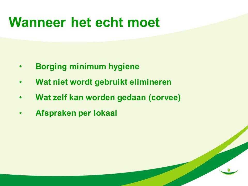 Wanneer het echt moet Borging minimum hygiene Wat niet wordt gebruikt elimineren Wat zelf kan worden gedaan (corvee) Afspraken per lokaal