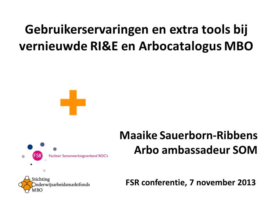 Gebruikerservaringen en extra tools bij vernieuwde RI&E en Arbocatalogus MBO Maaike Sauerborn-Ribbens Arbo ambassadeur SOM FSR conferentie, 7 november 2013