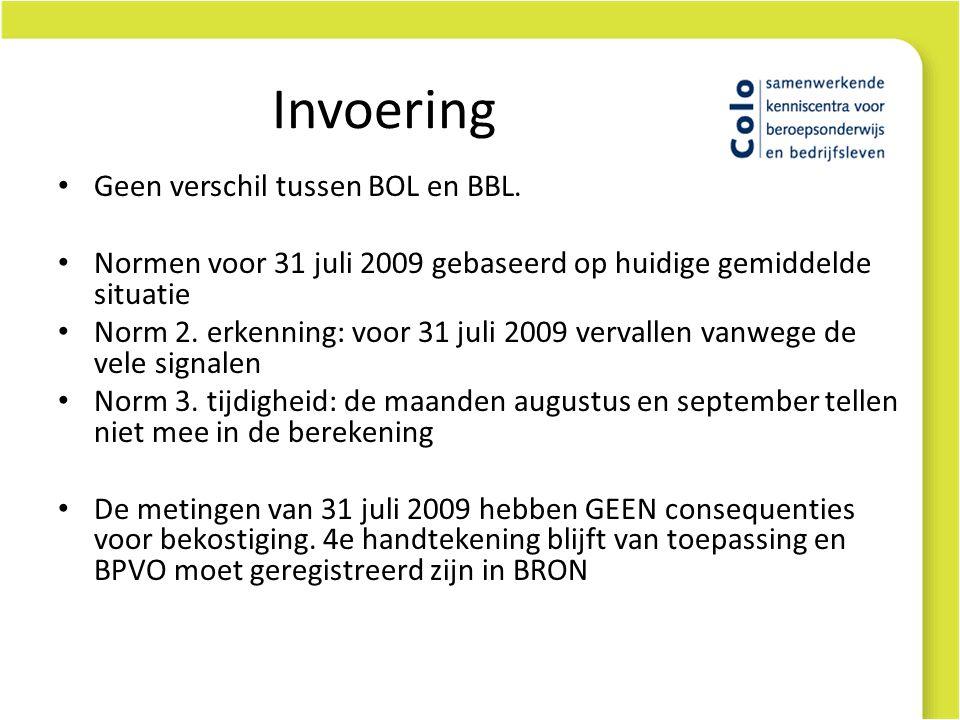 Invoering Geen verschil tussen BOL en BBL. Normen voor 31 juli 2009 gebaseerd op huidige gemiddelde situatie Norm 2. erkenning: voor 31 juli 2009 verv