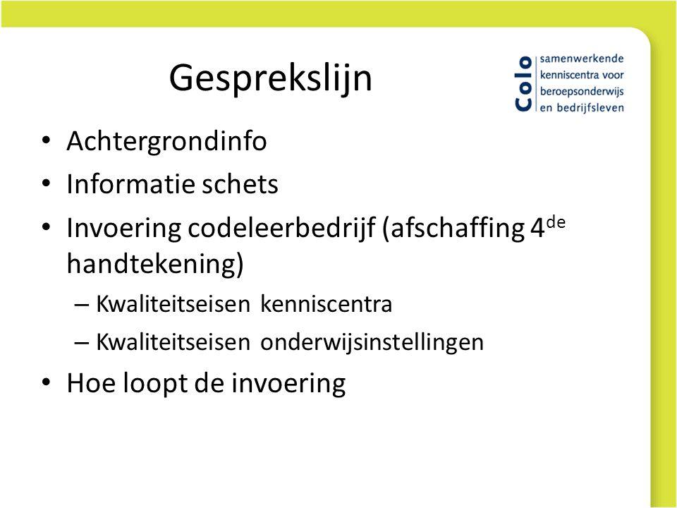 Gesprekslijn Achtergrondinfo Informatie schets Invoering codeleerbedrijf (afschaffing 4 de handtekening) – Kwaliteitseisen kenniscentra – Kwaliteitsei