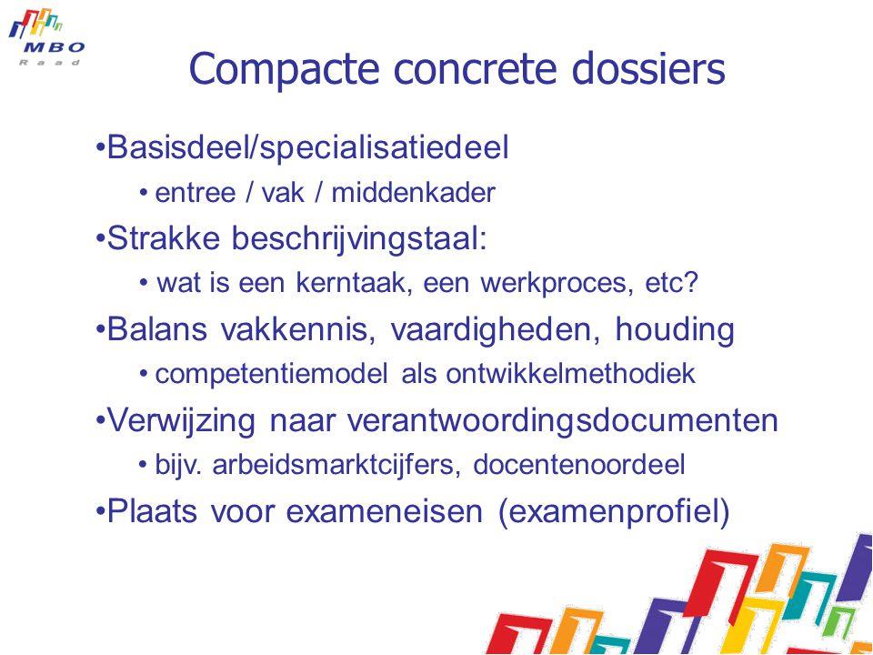 Compacte concrete dossiers Basisdeel/specialisatiedeel entree / vak / middenkader Strakke beschrijvingstaal: wat is een kerntaak, een werkproces, etc?