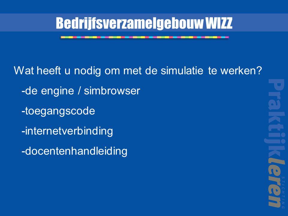 Bedrijfsverzamelgebouw WIZZ Wat heeft u nodig om met de simulatie te werken? -de engine / simbrowser -toegangscode -internetverbinding -docentenhandle